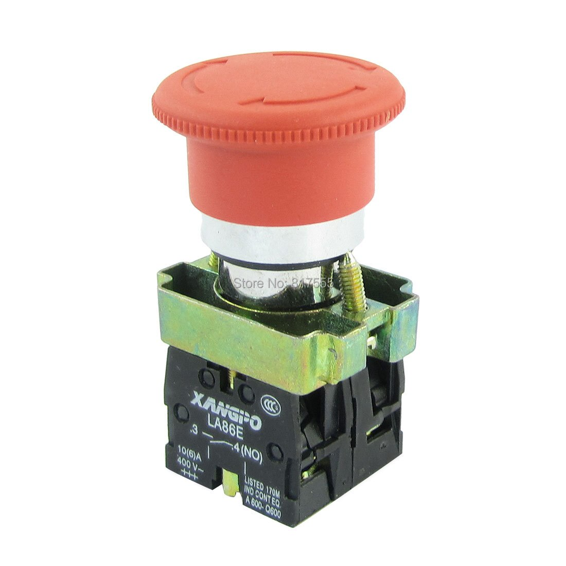 Cabeza de seta roja 4-Terminal 1NC + 1NO interruptor de botón de emergencia AC 400 V 10 a diámetro