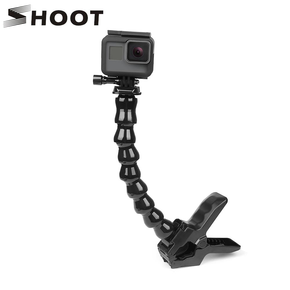 SHOOT montura Flexible con abrazadera y dientes con cuello de cisne ajustable Flexible para GoPro Hero 8 7 6 5 Sjcam Yi 4K accesorio para trípode de cámara de acción