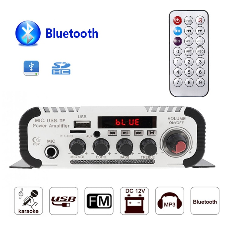 Kentiger HY-V11 apoyo 6,5mm micrófono Bluetooth Amplificador USB TF FM AUX multifunción...