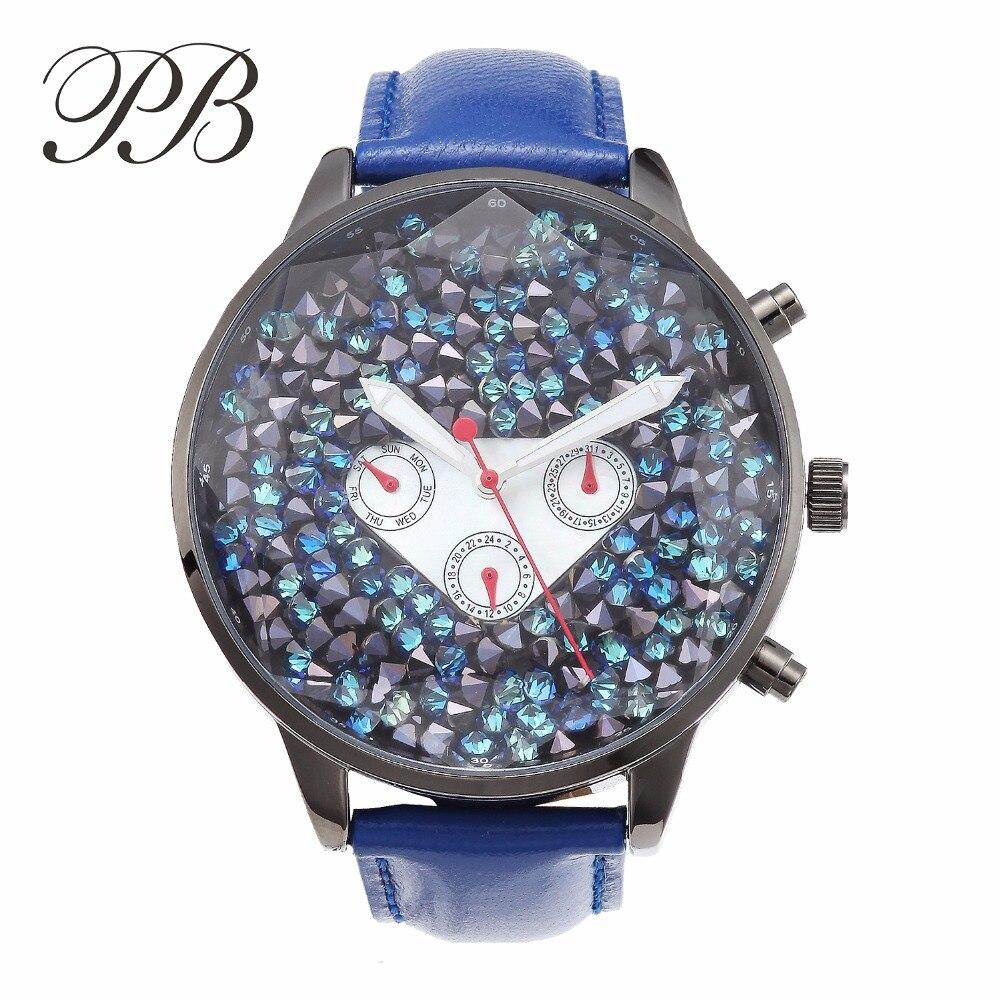 PB-ساعة فاخرة مع مينا كريستالية زرقاء للنساء ، ساعة كوارتز بسوار جلدي مقاوم للماء