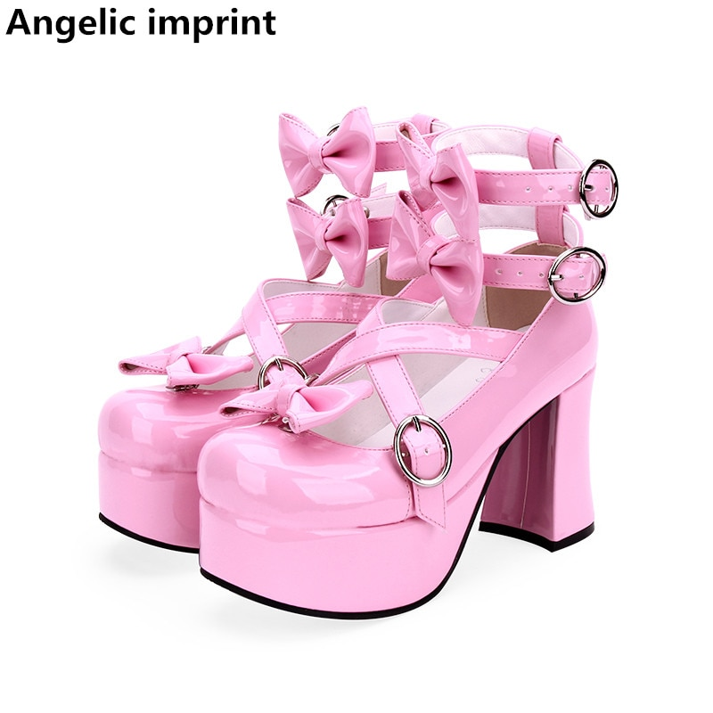 Zapatos con estampado Angelic de lolita para cosplay de mujer mori, zapatos de tacón alto para mujer, zapatos de princesa para fiesta o boda, color rosa PL 47