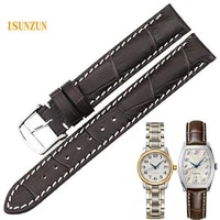 isunzun women watch band for longines traditional l2 142 watchstrape genuine leather watch strap cowleather bracelet