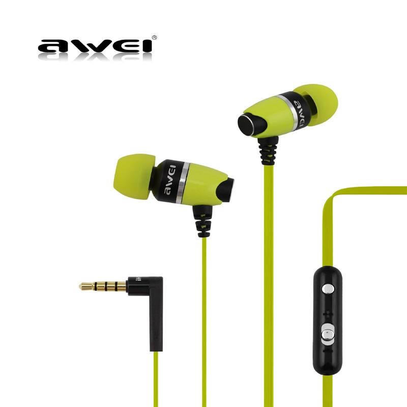 Awei ES-88Hi In-ear Deep Bass Earphone Metal Earbuds Stereo Earphone Headset Sports Earphones with Microphone Noise Cancelling