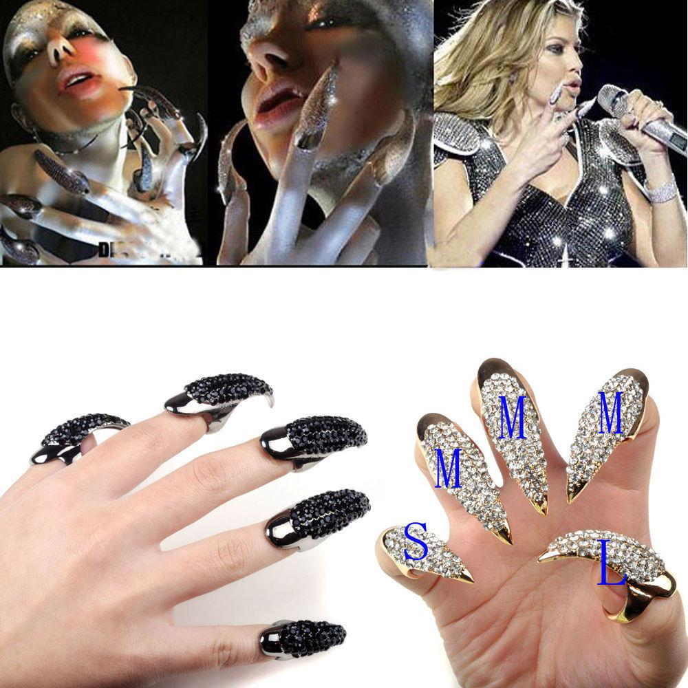 10 teile/los Unisex Retro Punk Rock Kristall Strass Klaue Ringe Falsche Nail Paw Talon Katze Klaue Finger Ringe Partei Jewerly