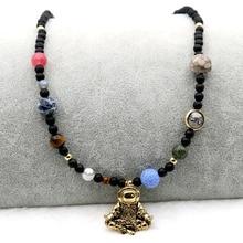 Astronaute pendentif collier femmes nouveauté bijoux 9 planètes système solaire roche lave pierres perlées extensible