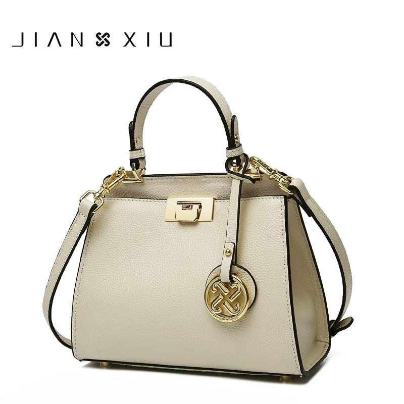 JIANXIU-حقائب يد من الجلد الطبيعي بقفل معدني للنساء ، وحقائب يد تحمل علامات تجارية شهيرة ، وحقيبة كتف صغيرة بشرابة