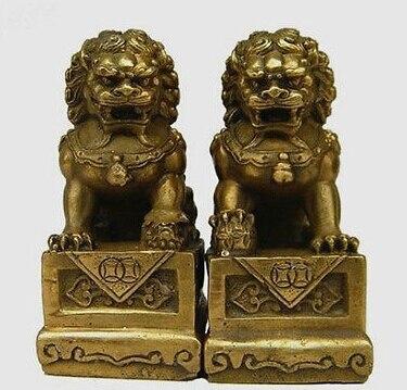 EIN Paar China Chinesische Messing Folk Fengshui Foo Fu Hund Guardion Tür Lion Statue Wächter Löwen 2 stücke Garten Dekoration messing