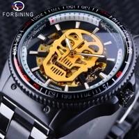 forsining steampunk luminous hands golden skull black stainless steel skeleton clock mens automatic watches top brand luxury