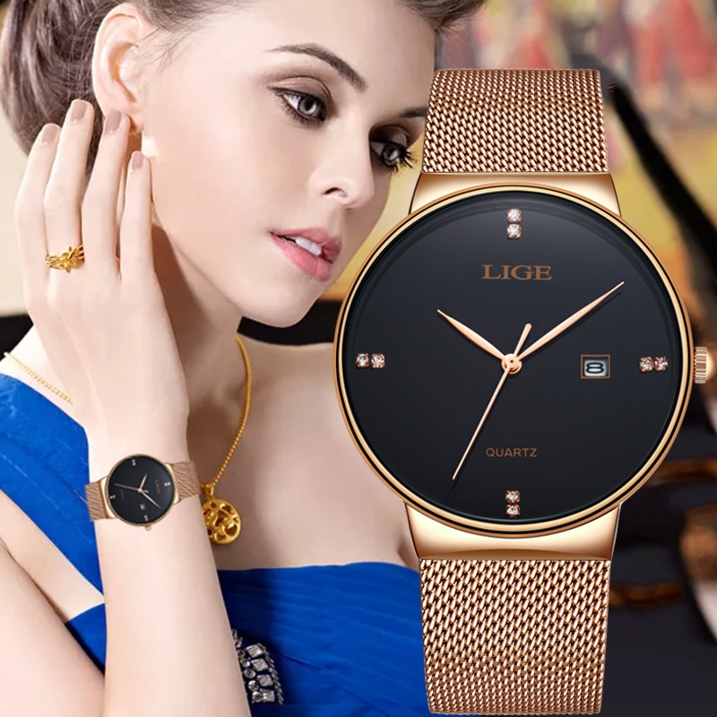 LIGE New Women Watch full steel Watch Simplicity Classic Fashion Casual Quartz Clock High Quality lady Watches Relogio Feminino