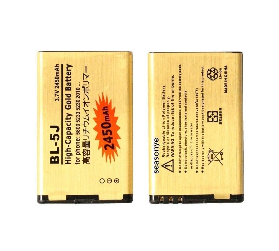Seasonye 10 unids/lote 2450mAh BL-5J batería de reemplazo de oro para Nokia 5800 XpressMusic N900 5230 C3 5230c 5800xm 5800ixm 5802