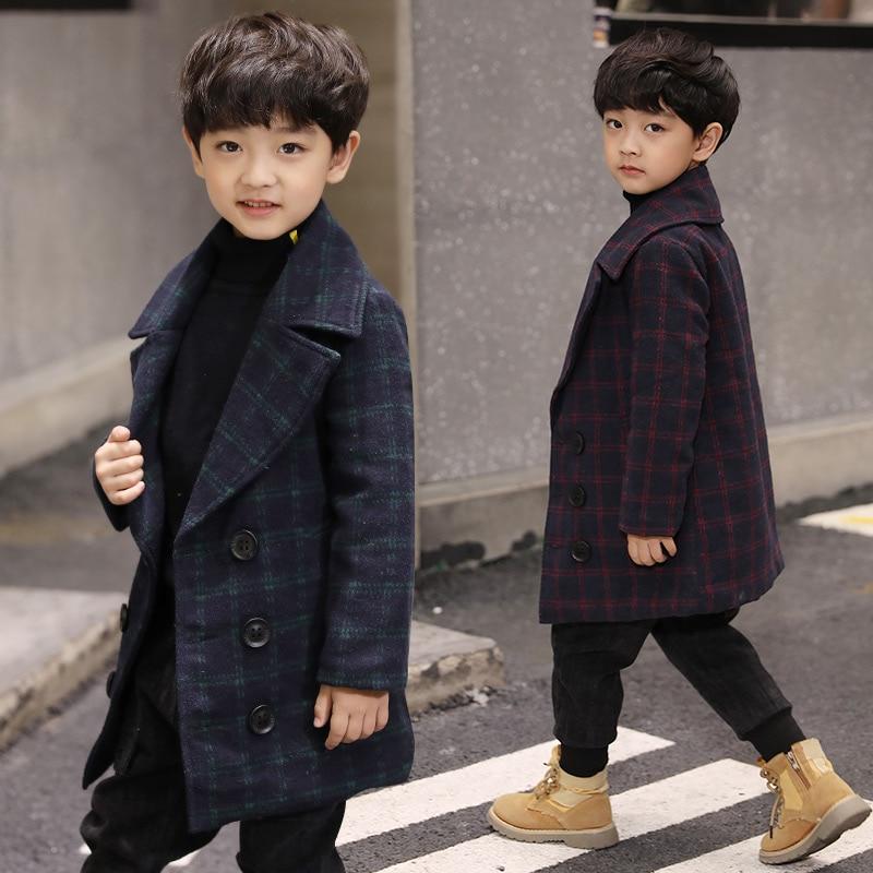 Шерстяное пальто для мальчиков, 2020 шерстяное пальто, детская одежда, осенне-зимняя клетчатая утепленная повседневная шерстяная Верхняя одежда для детей, тренчи, куртки X470-0