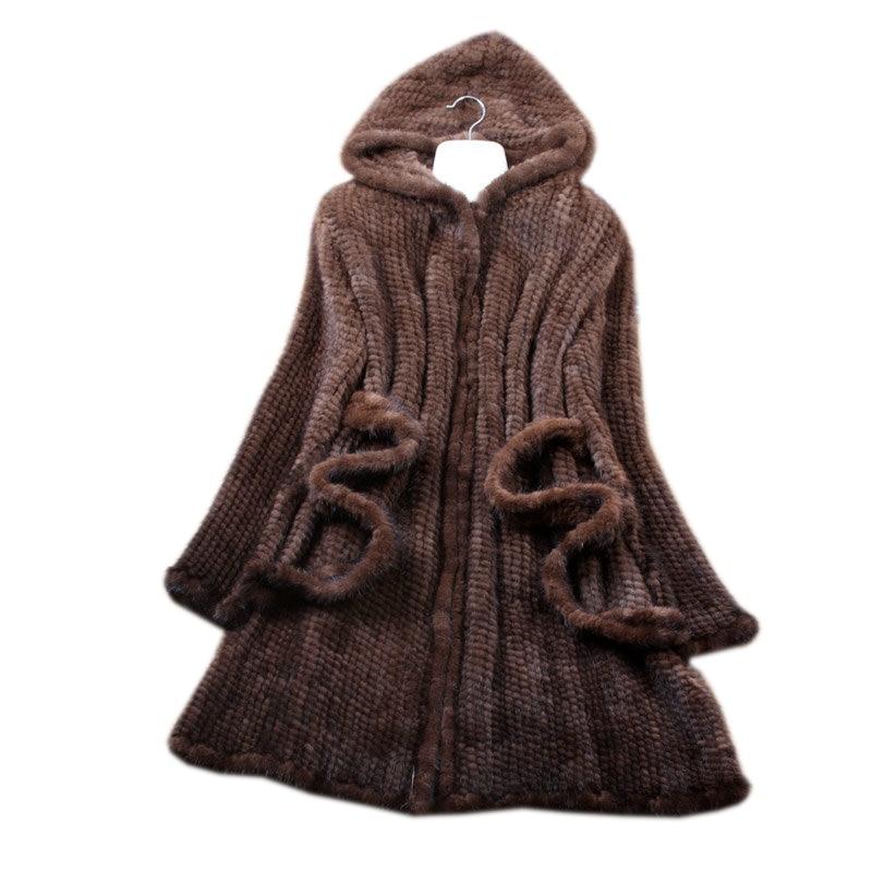 Natural Fur Coat Women Handmade Knitted Mink Fur Coats With Fur Hood Jacket Winter Fur Jackets For Women фото