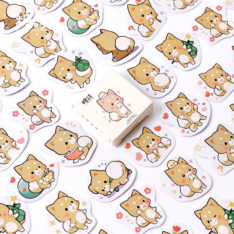 45 unids/lote, mini pegatina de papel para decoración DIY con dibujo de perro Shiba inu, álbum planificador diario, etiqueta adhesiva para álbum de recortes