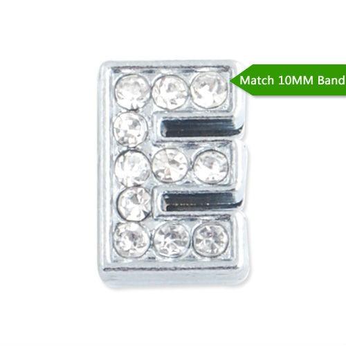 10MM Slider Charms,Crystal Rhinestones Alphabets Beads''E'' ,Silver Plated,Match 10mm Band or Slider Bracelet