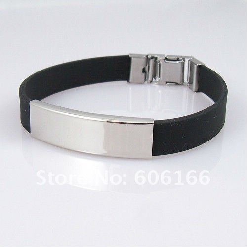 Wholesale 36pcs/lot Simple Black Silicone Bracelets Stainless Steel Buckle Bracelet