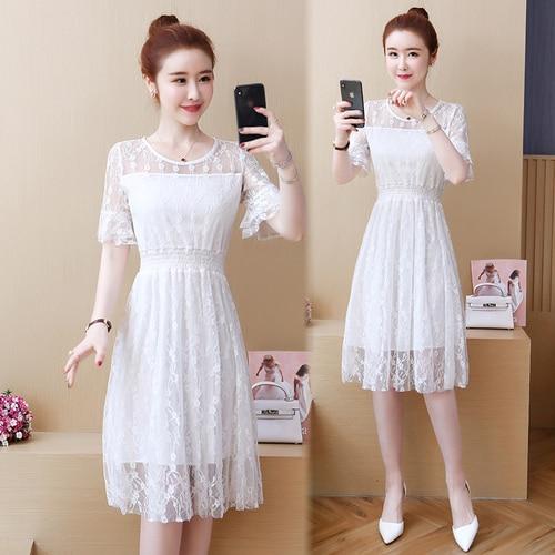 Mujer verano coreano blanco elegante vestido Casual Flarre manga Chic verano vestido moda Patchwork breve vestido de encaje