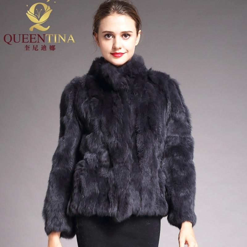 2020 High Quality Real Fur Coat Fashion Genuine Rabbit Fur Overcoats Elegant Women Winter Outwear St