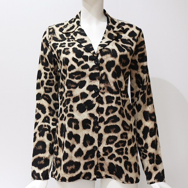 Aachoae Vintage Blouse Long Sleeve Leopard Print Blouse Turn Down Collar Office Shirt Tunic Casual Loose Tops Plus Size Blusas 10