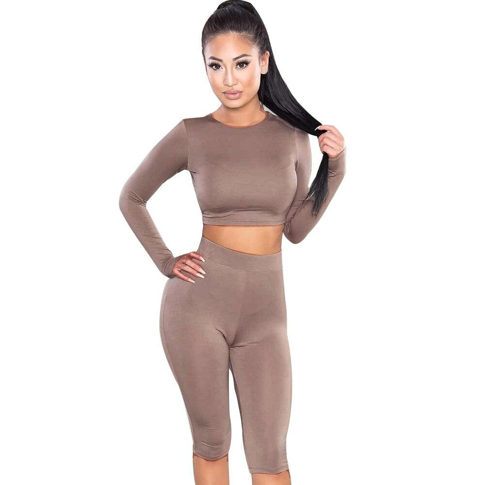Livre avestruz feminino conjunto novo de alta qualidade moda terno topo de colheita calças o-pescoço roupa de festa roupas treino feminino d1335