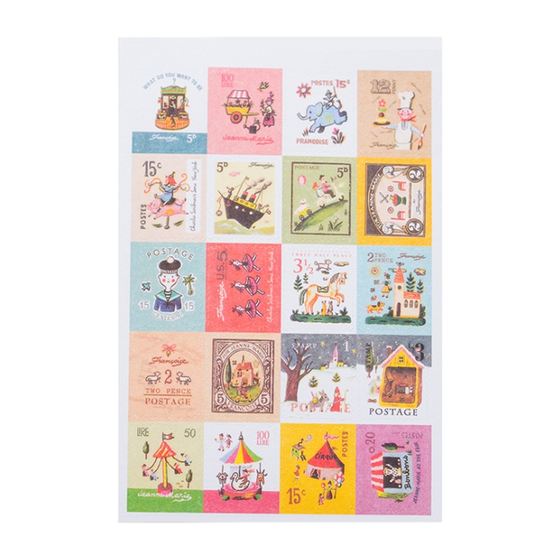 4sheets/lot New paper Cartoon Style Stamp Deco Sticker Index Label Fashion Gifts Mutifunction Sticker DIY Dairy Deco