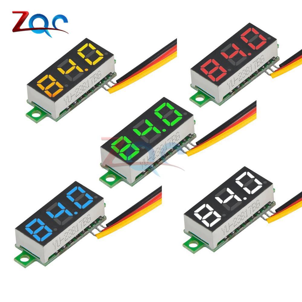 Voltímetro de 0,28 pulgadas DC 0-100V, Mini medidor de voltaje de 3 cables, pantalla LED, Panel Digital, voltímetro, Detector, herramientas de control