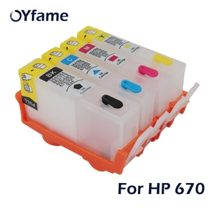 OYfame 4 For HP 670 Ink cartridge For HP670 Ink Cartridge refill With auto reset Chip For HP 3525 4615 4625 5525 6525 Printer