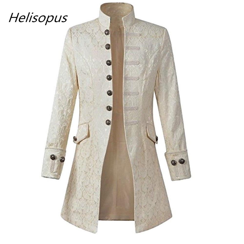 Helisopus moda hombres chaqueta gótico brocado chaqueta Frock abrigo manga larga Stand Collar abierto Stitch chaqueta