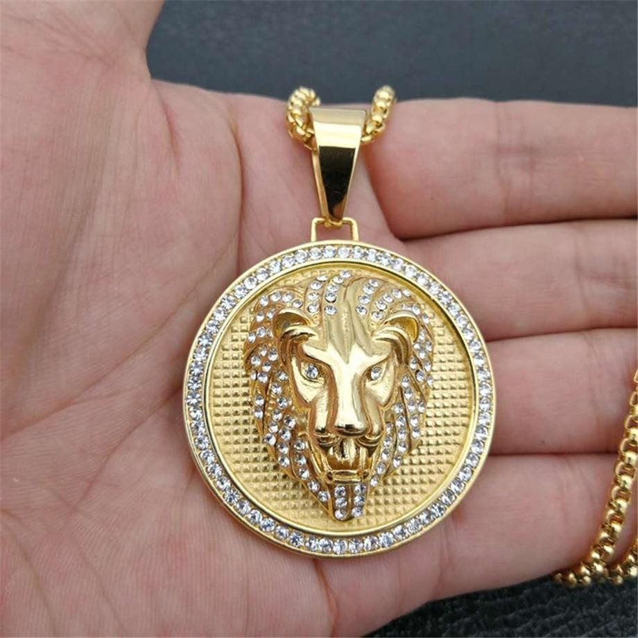 Colgante de Hip Hop con brillantes pendientes con cabeza de león y cadena de acero inoxidable de Color dorado para hombre