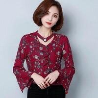 I44823 Fashion V Neck OL Workwear Chiffon Shirt