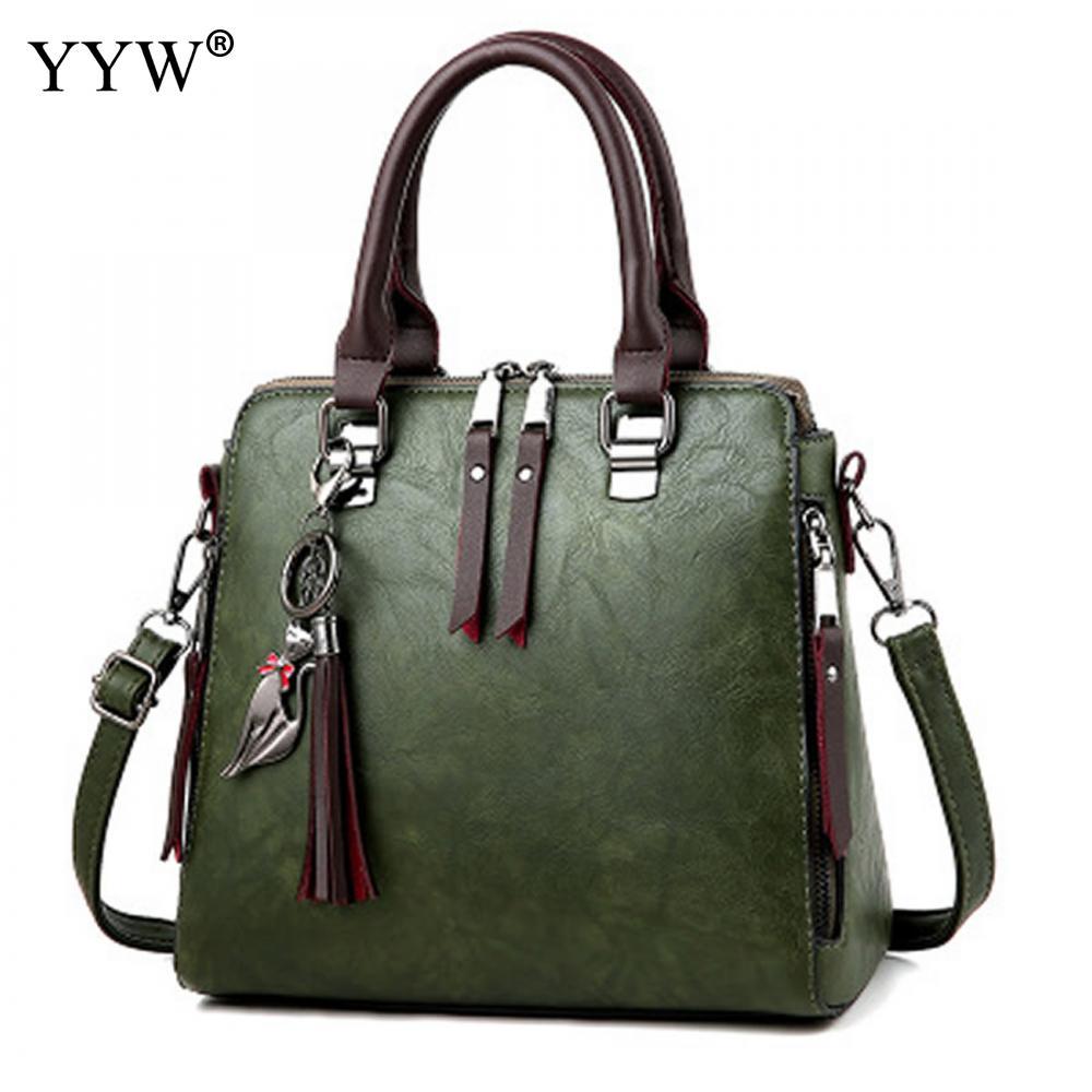 Vintage Leather Ladies HandBags Women Messenger Bags Totes Boston Hand Bags Tassel Designer Crossbody Hot Sale Shoulder Bag