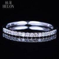 HELON Solid 14k White Gold Sparkled Wedding Diamonds Half Eternity Band Ring Women Engagement Anniversary Women Trendy Jewelry