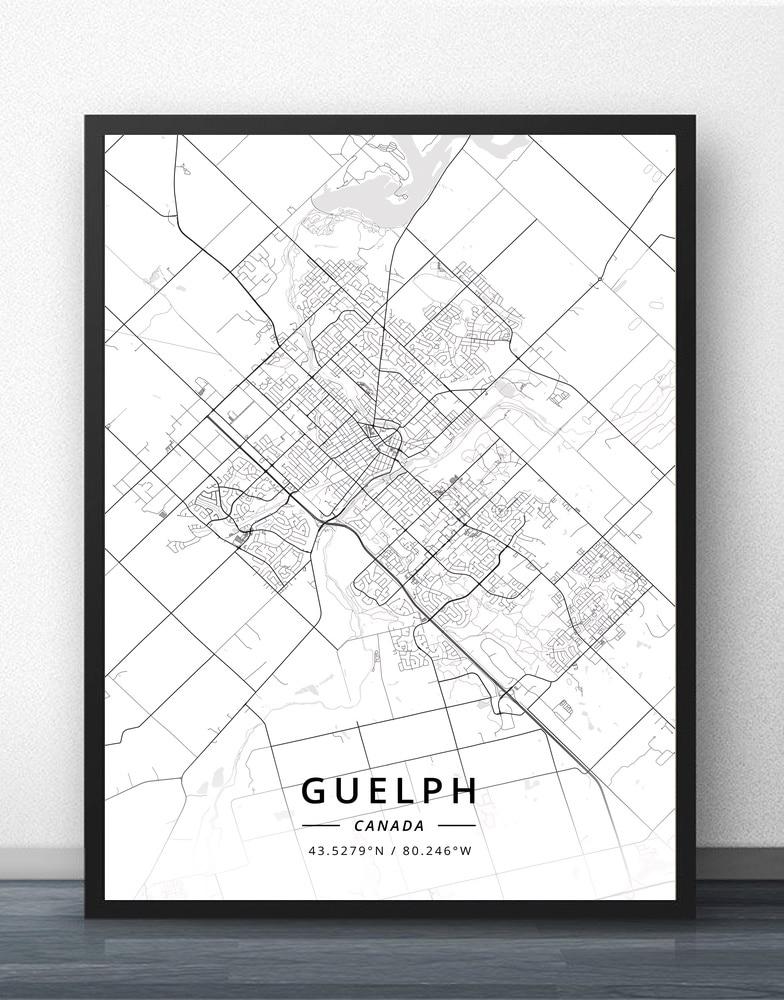 Guelph Halifax Hamilton Kelowna Kingston Kitchener Laval Leduc Levis Longueuil Markham Milton Montreal Kanada Karte Poster