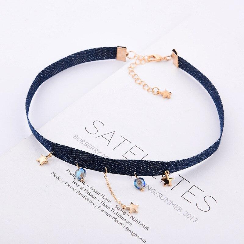 DoreenBeads Fashion Hot New Freshing Chocker Necklace Simple Velvet Ribbon Rope Star Moon Earth Pendant Trendy Jewelry,1 PC