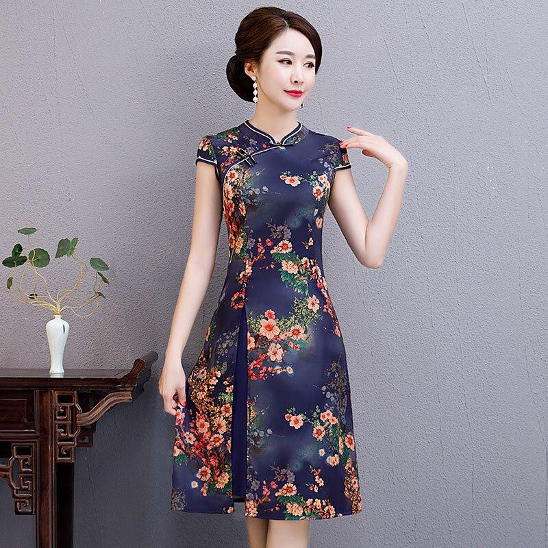 Sexy Womens AO Dai short Cheongsam 2019 Summer Vintage Chinese style Rayon Knee Length Qipao Fashion Slim Party Dress Vestido