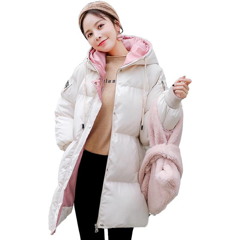 Invierno 2019 nueva moda Chaqueta de algodón mujeres embarazadas ropa Parker mujer versión coreana suelta período de embarazo largo marea