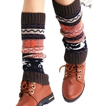2020 cerf Patchwork femmes hiver chaud tricoté jambières longues bottes chaussettes sur genou Crochet coloré laine bureau jambières