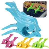 2pcslot dolphin shaped large clothes pegs plastic clips beach towel pins sunbed sun lounger holder duty clothes hanger 25