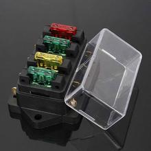 Boîte à fusibles avec 4 pièces 24V cd   Bloc de fusibles 4 voies, boîte de support de voiture automobile, Circuit de lame Auto, fusible de 4 pièces