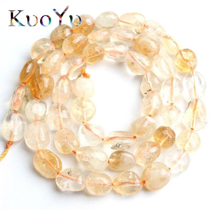 6-8mm contas de cristal amarelo irregular natural solta espaçador grânulos para fazer jóias diy pulseira colar 15strand strand strand/polegadas