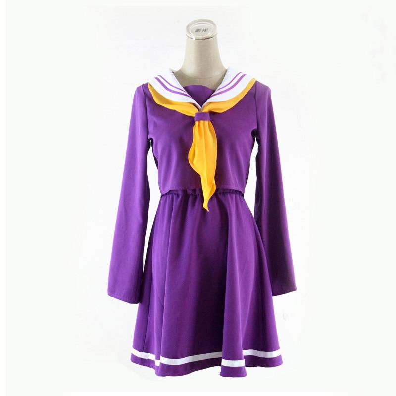 Cosplay Costume No Game No Life Shiro Emboitement Heroine Purple Sailor Suit (top+ Skirt+ Bow Tie+ Shoulder Tape+ Oversleeve)