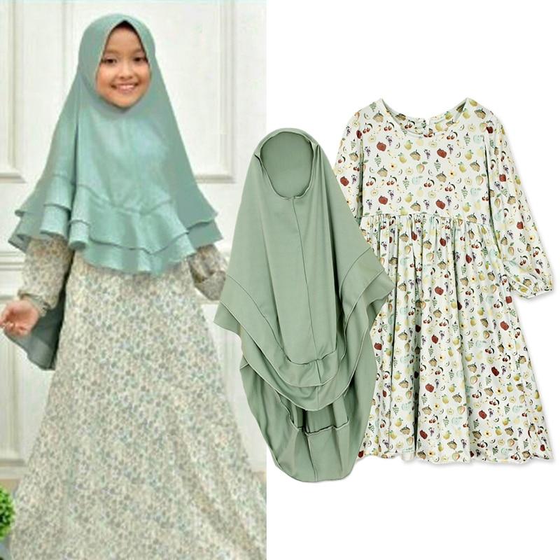 Toddler Kids Girls Dress Muslim Hijab Islamic Abaya Kaftan+Bown Arab Maxi Dress Long Sleeve Dress Baby Dresses 2Pcs Sets 3-7Yrs