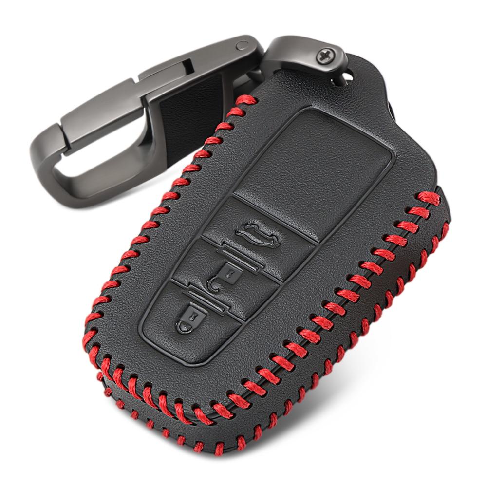 Кожаный чехол для ключей для Toyota Camry CHR Corolla RAV4 Avalon Land Cruiser Prado Prius Remote Fob Cover 3 кнопки 2017 2018 2019