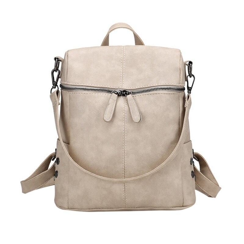 Mochila para mujer bolso bandolera a la moda para mujer bolso bandolera con cremallera impermeable de piel sintética mochila de 3 maneras para estudiante