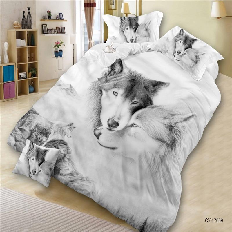 Conjunto de funda de edredón de poliéster clásico caliente 3D Lobo genial impresión estilo pintura al óleo ropa de cama edredón cubierta edredón conjunto de funda de almohada