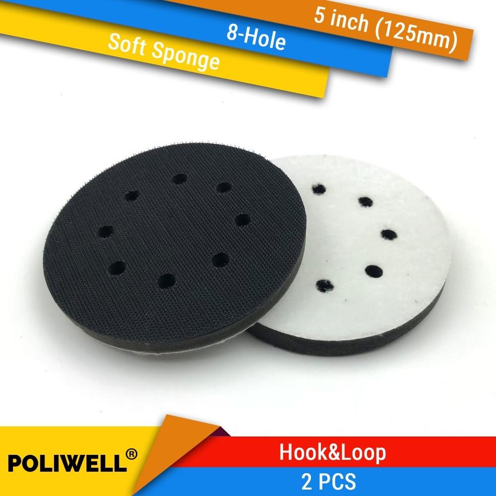 2 vnt. 5 colių (125 mm) 8 skylių minkštos kempinės sąsajos šlifavimo padėklai ir kablio bei kilpos šlifavimo diskai, skirti nelygiam paviršiaus poliravimui