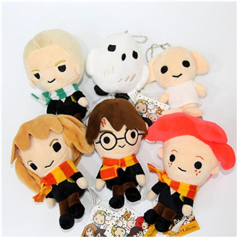 14cm filme brinquedos de pelúcia boneca q versão harry malfoy ron weasley hermione dobby coruja hedwig chaveiro pelúcia brinquedo