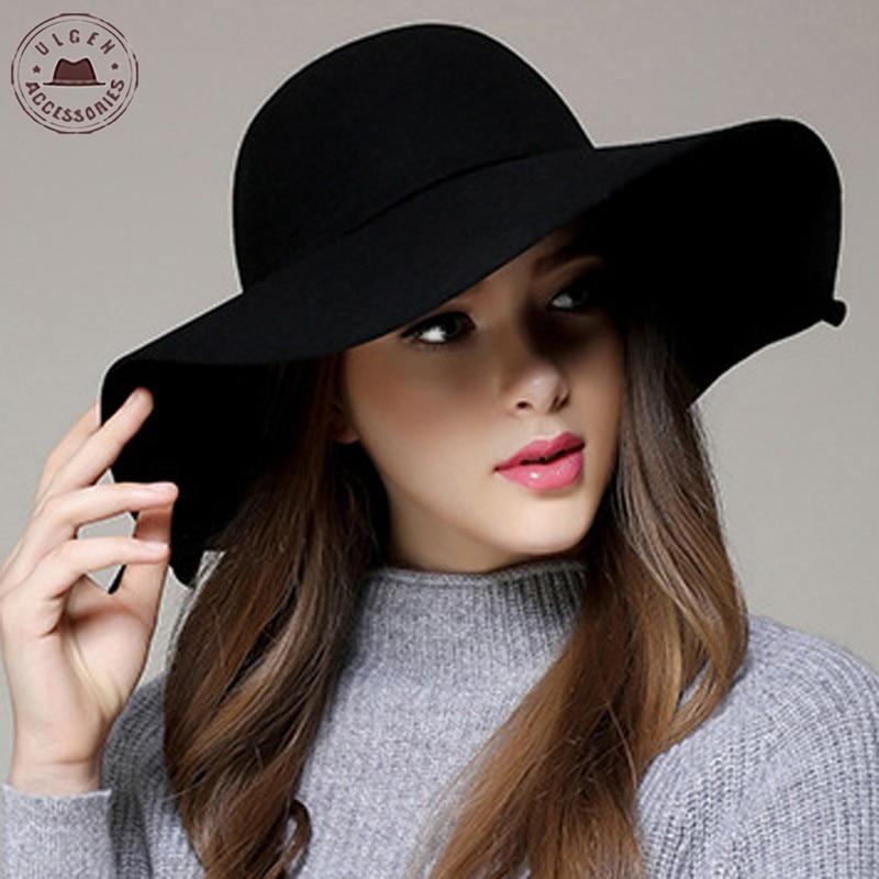 Chapeau Hot Sale Casual Fedora Cap Wide Brimmed Dome Hats High Quality Wool Floppy Womens Black Cloc