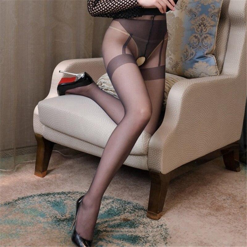 Moda contraste Color medias Sexy entrepierna abierta medias mujer erótica alta cintura pantimedias falsas bragas de Liga Lencería