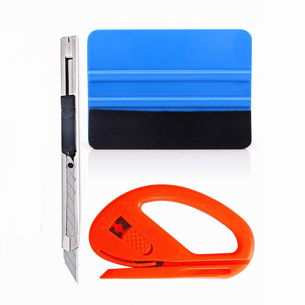 Kit de herramientas de aplicación de vinilo para envolver el coche EHDIS, espátula limpiacristales con fieltro, cortador de soplones de seguridad y cuchilla para ARTE DE ACERO INOXIDABLE AT004