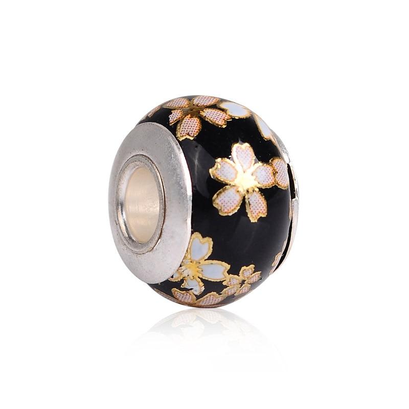 Patrón de flores, Placa plateada, núcleo de bola, abalorio de cristal apto para pulsera y collar, accesorios de joyería, cuentas sueltas de gran agujero